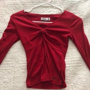 red v neck long sleeve.